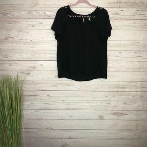 🌈Xhilaration black sheer short sleeve blouse LG